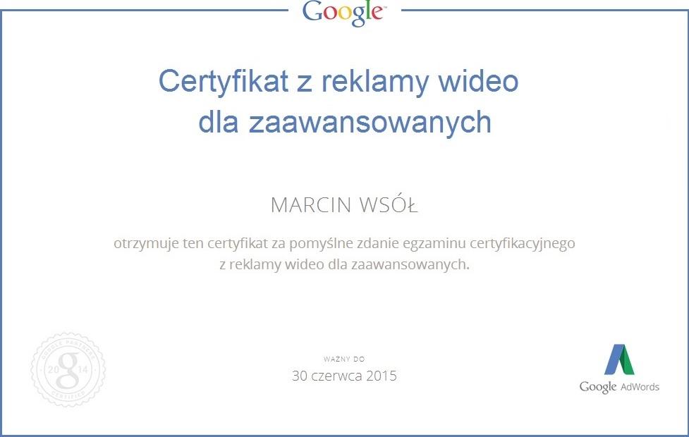 Certyfikat z reklamy wideo dla zaawansowanych