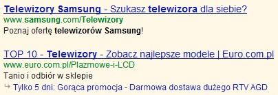 Nasycenie słów kluczowych w reklamie Google AdWords