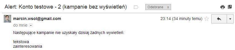 Skrypt AdWords - wiadomość e-mail