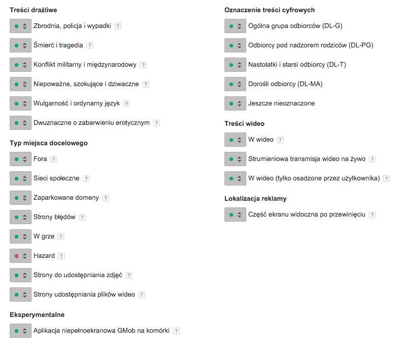 ILUSTRACJA 3. Opcje kategorii witryn